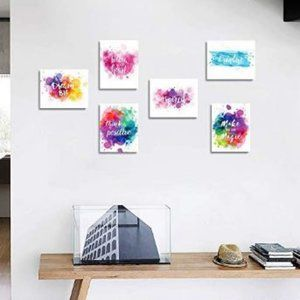 New 6 Piece Unframed Canvas Positive Phrases